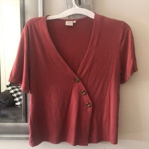 Salmon button up T shirt